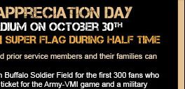 Army Football's Military Appreciation Day. Come see the Super Flag during half time